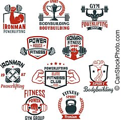 Bodybuilding gym or powerlifting club vector icons - Gym...