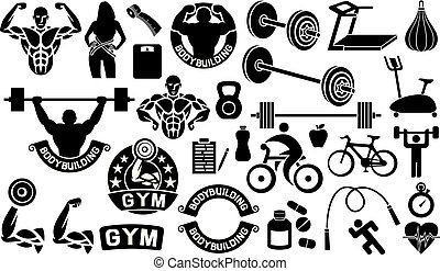 bodybuilding, health and fitness icons set (weightlifter with barbell, runner, sportsman, cyclist, apple, pills, heart, stopwatch, scales, woman with measuring tape, treadmill and exercise bike)