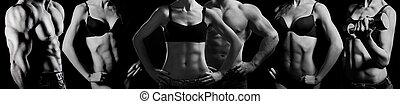 bodybuilding., hombre y mujer