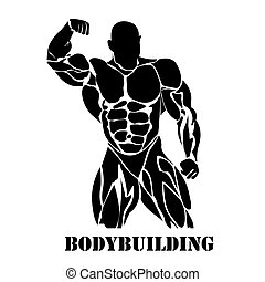 Bodybuilding, power lifting concept in flat style on white...