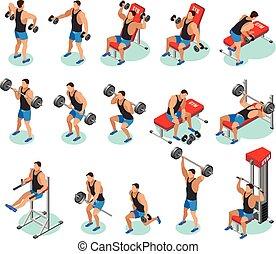 bodybuilding, isometric, iconen