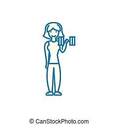 Bodybuilding linear icon concept. Bodybuilding line vector sign, symbol, illustration.
