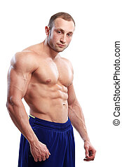 Bodybuilding. Man and his powerful body