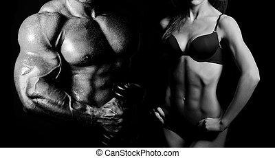 Bodybuilding. Man and  woman