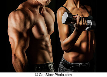 Bodybuilding. Man and woman - Bodybuilding. Strong man and a...