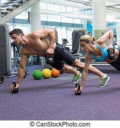 bodybuilding, mann frau, heben