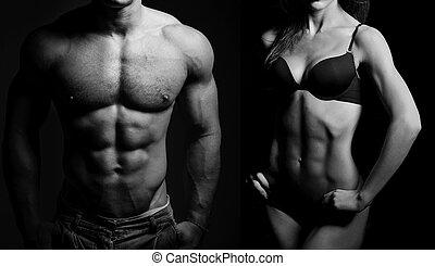 bodybuilding., mann frau
