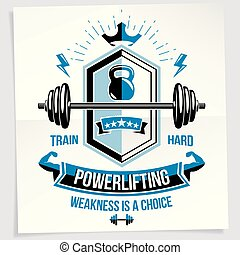 Bodybuilding motivation poster composed with barbell sport equipment and other graphic vector elements. Weakness is a choice quote.