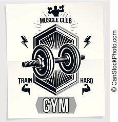 Bodybuilding motivation vector poster created with disc weight dumbbell and bodybuilder body silhouette. Train hard lettering.