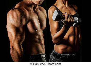 bodybuilding., mujer, hombre