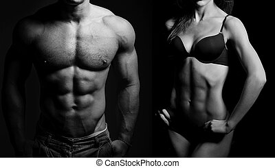 bodybuilding., mulher, homem