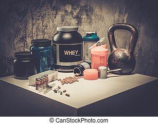 bodybuilding, näring, tillägg, och, kemi