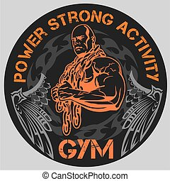 bodybuilding, -, palestra, vettore, emblema