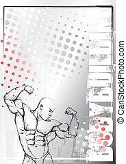 bodybuilding, plakat, 2, hintergrund