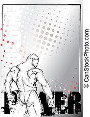 bodybuilding, plakat, baggrund, 1