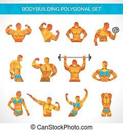 Bodybuilding Polygonal Icons Set