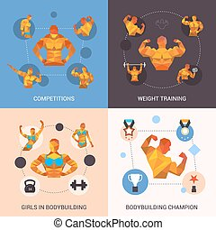 Bodybuilding Polygonal Set