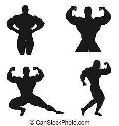 Bodybuilding, powerlifting, athlete, icon, vector