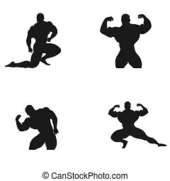 Bodybuilding, powerlifting, athlete, icon, vector