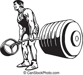 bodybuilding, powerlifting, -, vector.