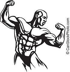 bodybuilding, powerlifting, -, vector.