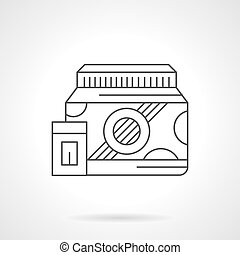 Bodybuilding protein flat line vector icon