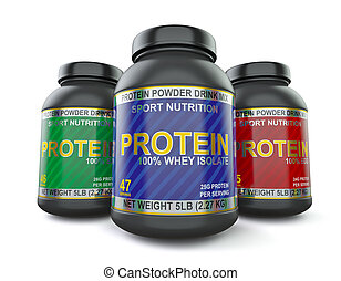 Bodybuilding protein supplements isolated on white - Sport ...
