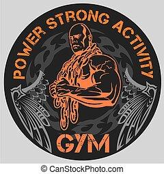 bodybuilding, -, sala gimnastyczna, wektor, emblemat