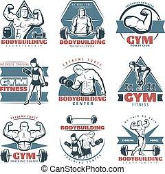 bodybuilding, set, embleem, gekleurde