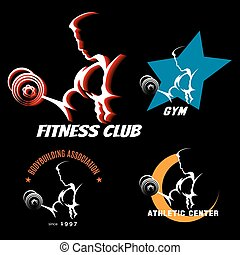 bodybuilding, set, etiket
