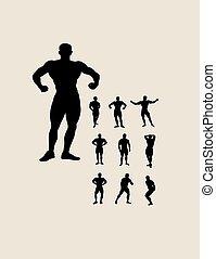 bodybuilding, silhouettes
