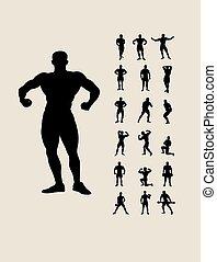 bodybuilding, silhouettes, set