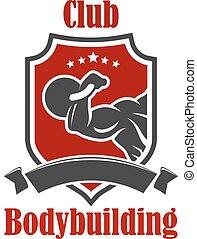 Bodybuilding sport club vector sign - Bodybuilding vector...