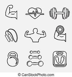 bodybuilding, sport, set, idoneità, icone