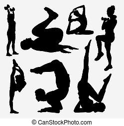 bodybuilding, sportende, silhouette