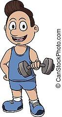 bodybuilding, spotprent, illustratie