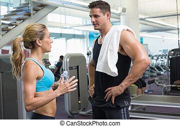 bodybuilding, sprechende , frau, zusammen, mann