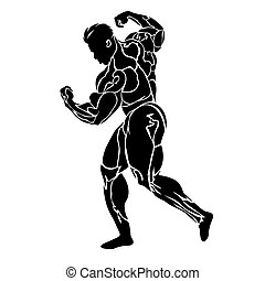 Bodybuilding, strongman, power lifting concept, vector illustration