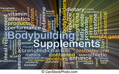 Background concept wordcloud illustration of bodybuilding supplements glowing light