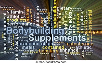 bodybuilding, tillägg, bakgrund, begrepp, glödande