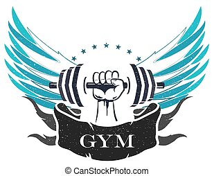 bodybuilding, und, fitness, symbol
