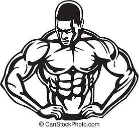 bodybuilding, und, powerlifting, -, vector.