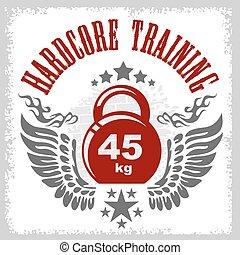 bodybuilding, vendemmia, emblema, style.
