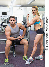bodybuilding, vrouw, het poseren, man, f