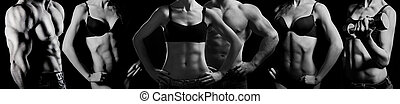 bodybuilding., vrouw, man