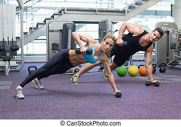 bodybuilding, vrouwenholding, man