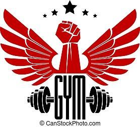 Bodybuilding weightlifting gym logotype sport club, retro...