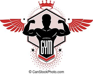 Bodybuilding weightlifting gym logotype sport club, retro stylized vector emblem or badge with wings. With sportsman silhouette.