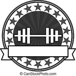 bodybuilding, wektor, odznaka, retro