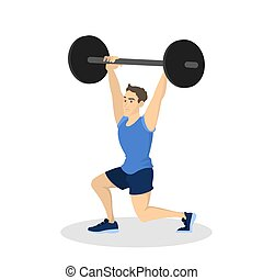 bodybuilding, workout., uomo, esercizio, idoneità